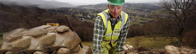 Stonemason Gary gets to work restoring Dolgarrog walls